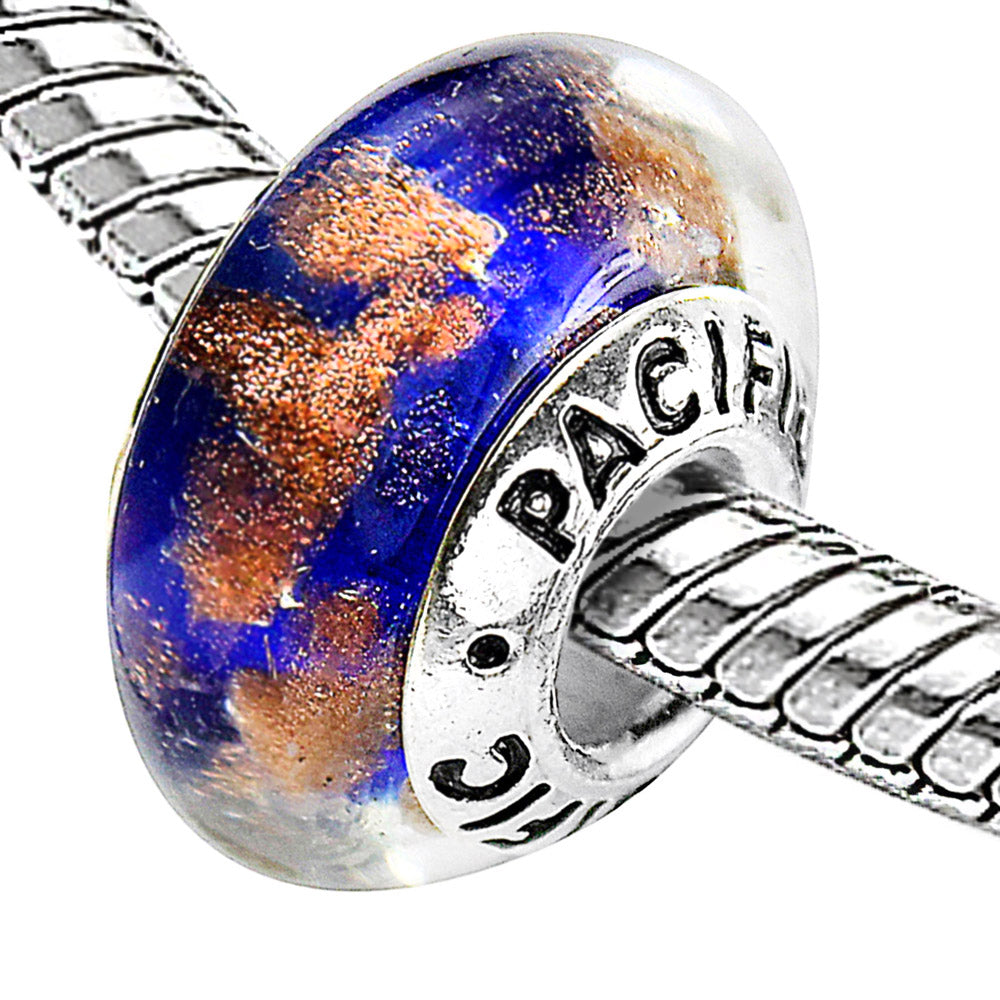 925 Sterling Silver Murano Glass Bead - Sandy Beach