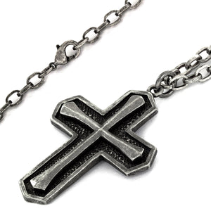 Crucible Antiqued Layered Cross Pendant Necklace (4.5 mm) - 25""