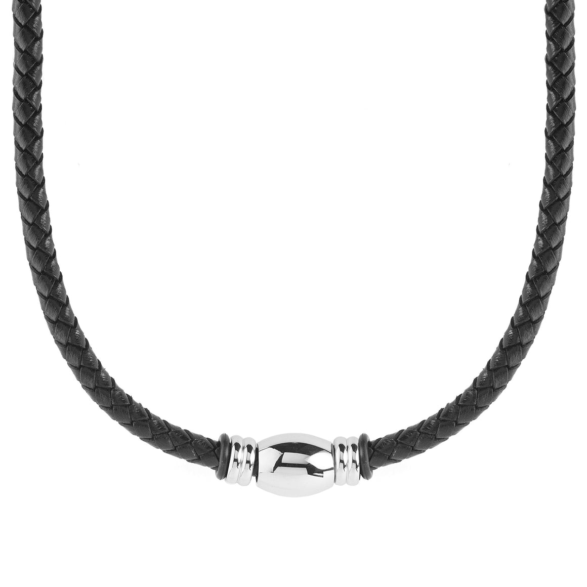 Crucible Men's Stainless Steel Beaded Black Braided Leather Necklace