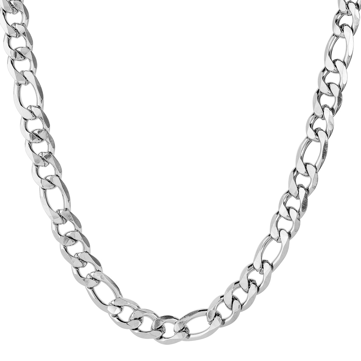 Crucible Men's Stainless Steel Polished Beveled Figaro Chain Necklace