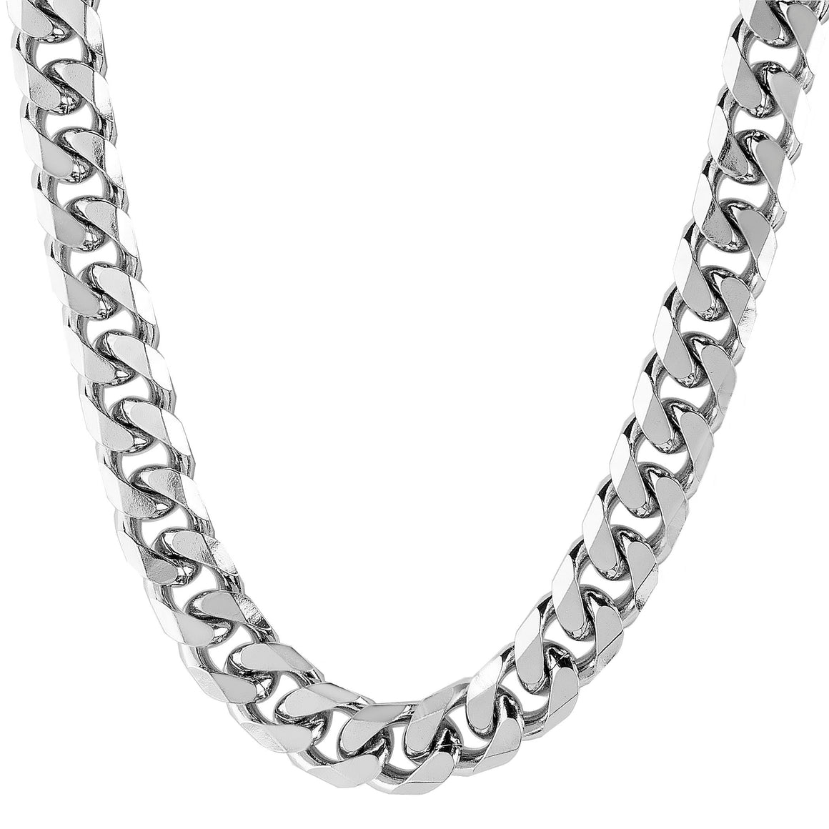 Crucible Men's Stainless Steel Polished Beveled Curb Chain Necklace