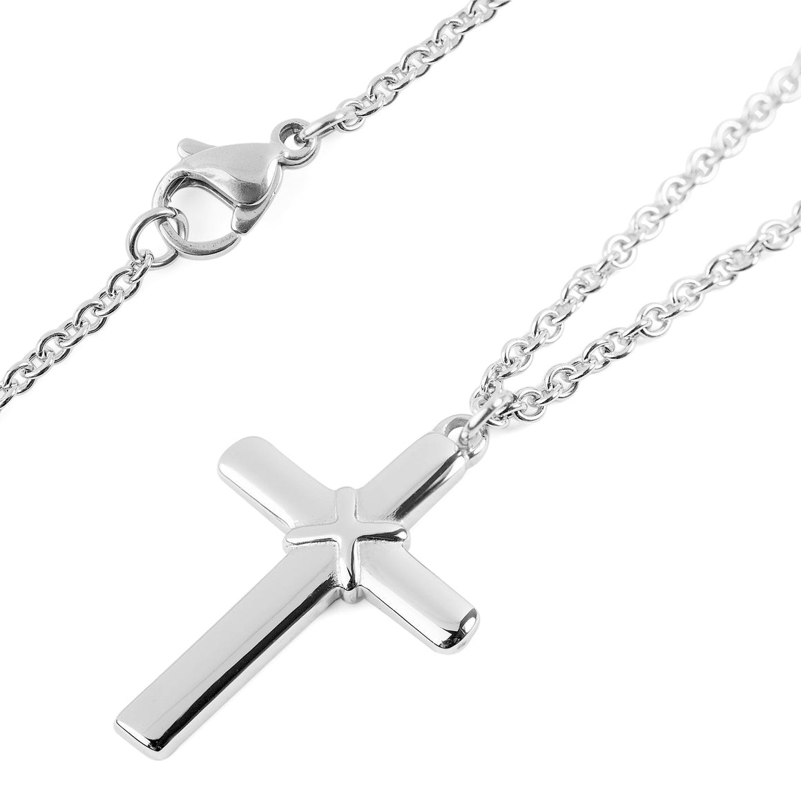 ELYA Women's Polished Cross Pendant Stainless Steel Necklace