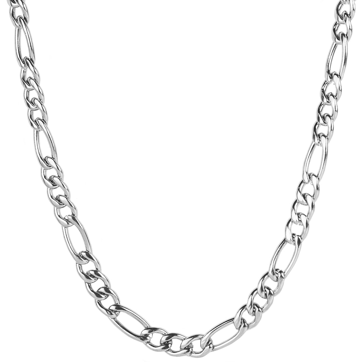 Crucible Men's Stainless Steel Polished Figaro Chain Necklace