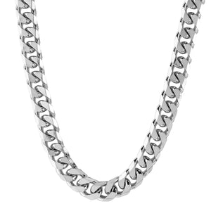 Crucible Men's Stainless Steel Polished Beveled Cuban Link Chain Necklace