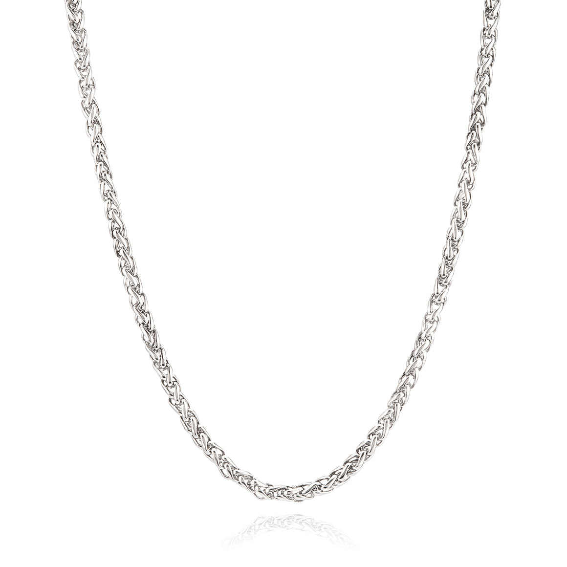 Crucible Men's Stainless Steel Polished Spiga Chain Necklace