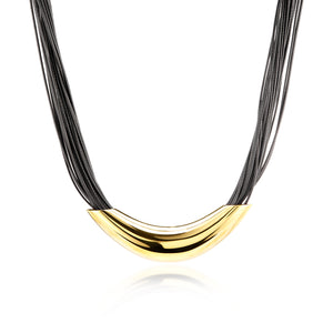 ELYA Elongated Tube Multi-Strand Leatherette Gold Plated Stainless Steel Necklace (16.5 mm) - 16""