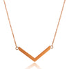 ELYA Women's High Polished Chevron Stainless Steel Cable Chain Pendant Necklace