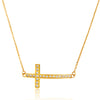 ELYA Women's Gold Plated Crystal Sideways Cross Stainless Steel Cable Chain Pendant Necklace