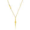 ELYA Gold Plated Star Cross Stainless Steel Cable Chain Pendant Necklace - 17