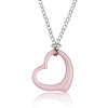 ELYA Women's Ceramic Heart Stainless Steel Curb Chain Pendant Necklace