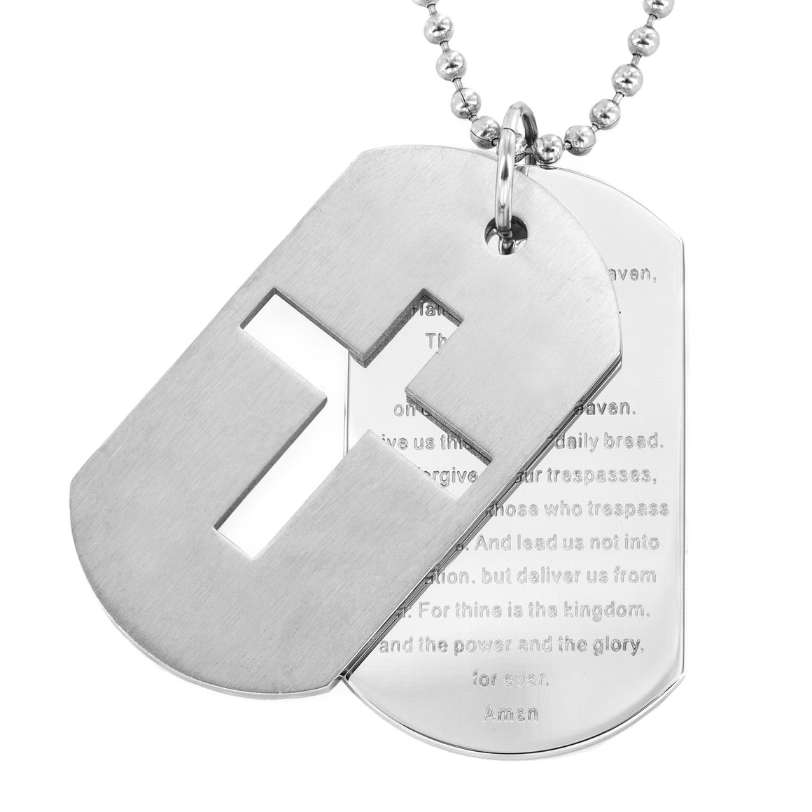 Crucible Men's Stainless Steel Cross and 'Lord's Prayer' Double Dog Tag Pendant Necklace