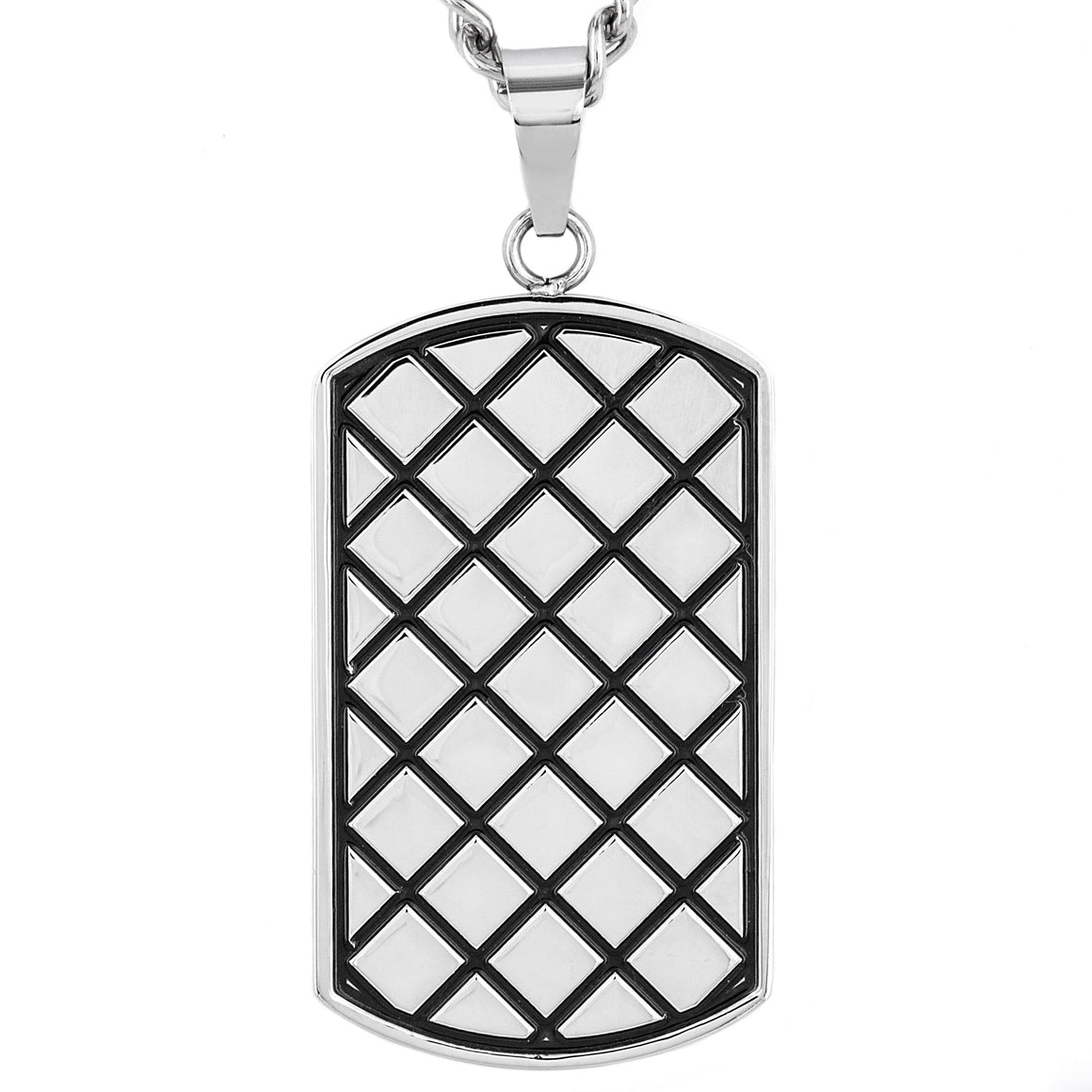 Crucible Stainless Steel Diamond Pattern Textured Dog Tag Pendant Necklace - 24""