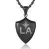 Stainless Steel Black Shield Pendant with LA Galaxy Logo