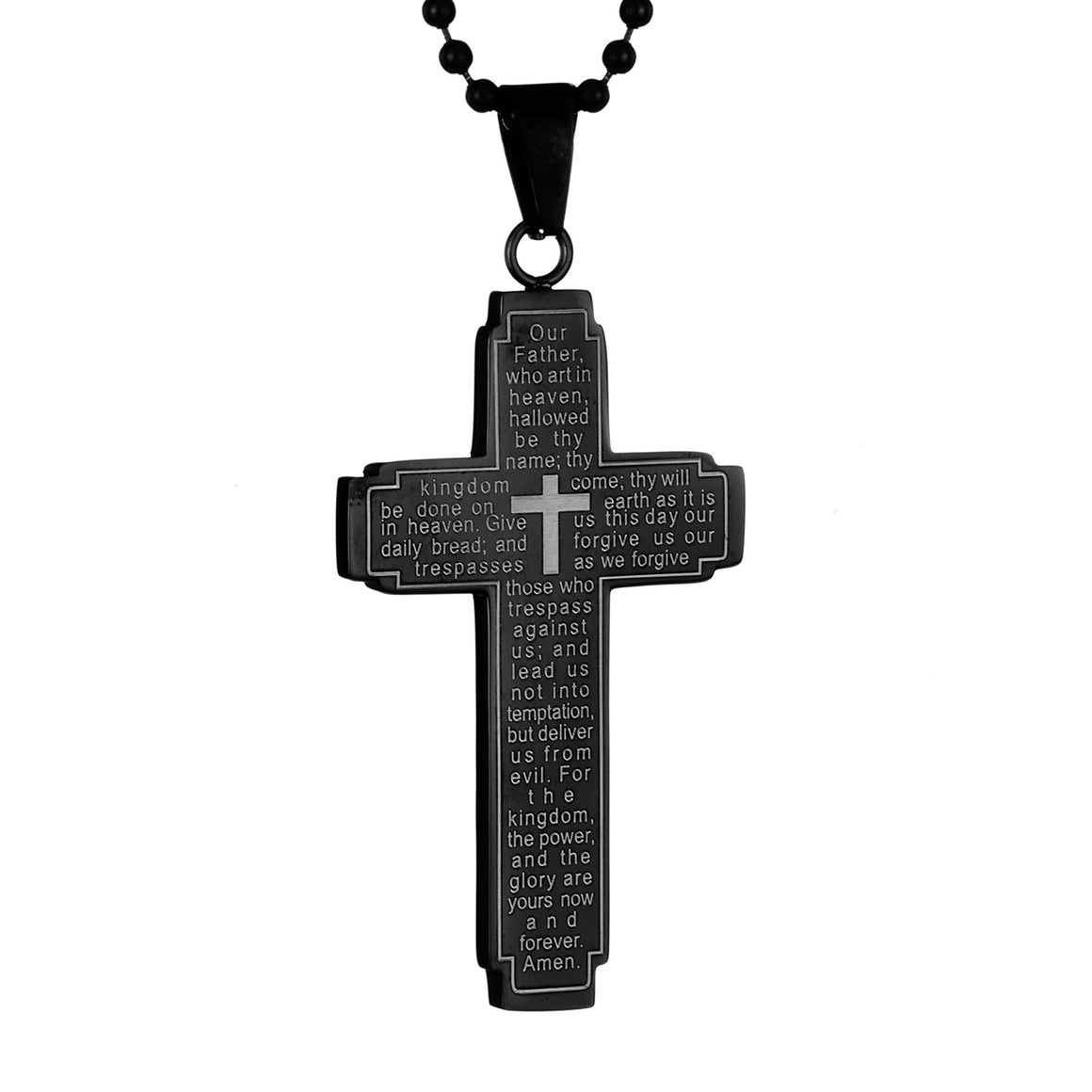 Crucible Men's Stainless Steel Lord's Prayer Cross Pendant Necklace