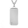 Cubic Zirconia Engravable Mini Dog Tag Best Friend Pendant Stainless Steel Necklace - 18