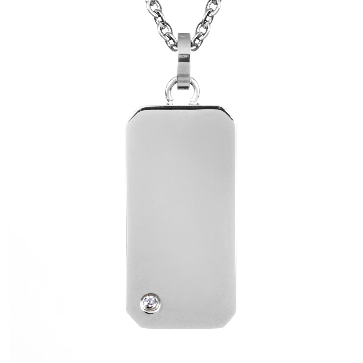 Cubic Zirconia Engravable Mini Dog Tag Best Friend Pendant Stainless Steel Necklace - 18""