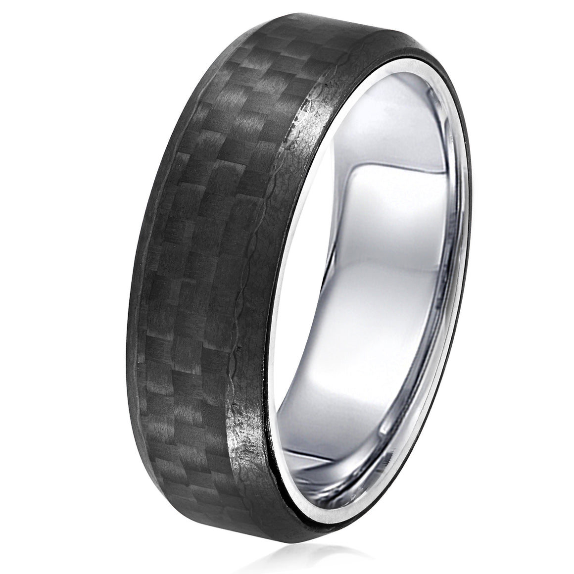 Crucible Men's Stainless Steel Carbon Fiber Beveled Comfort Fit Ring