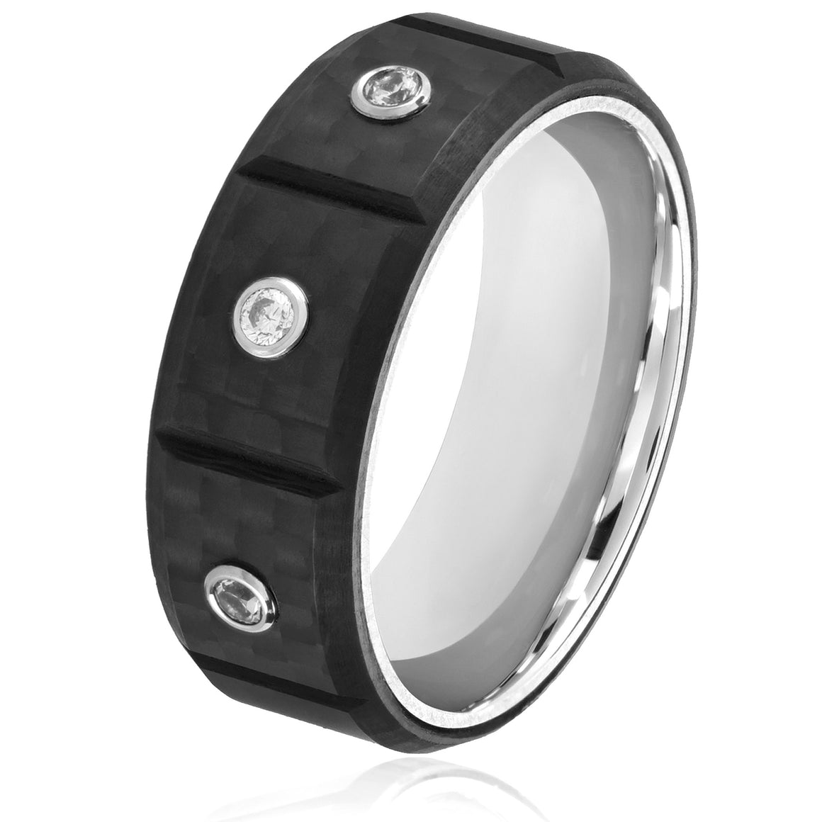 Crucible Stainless Steel Carbon Fiber Triple Cubic Zirconia Comfort Fit Ring