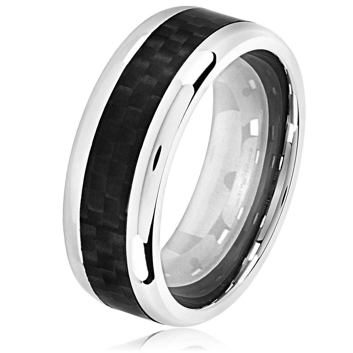 Crucible Men's Black IP High Polish Stainless Steel Carbon Fiber Comfort Fit Ring