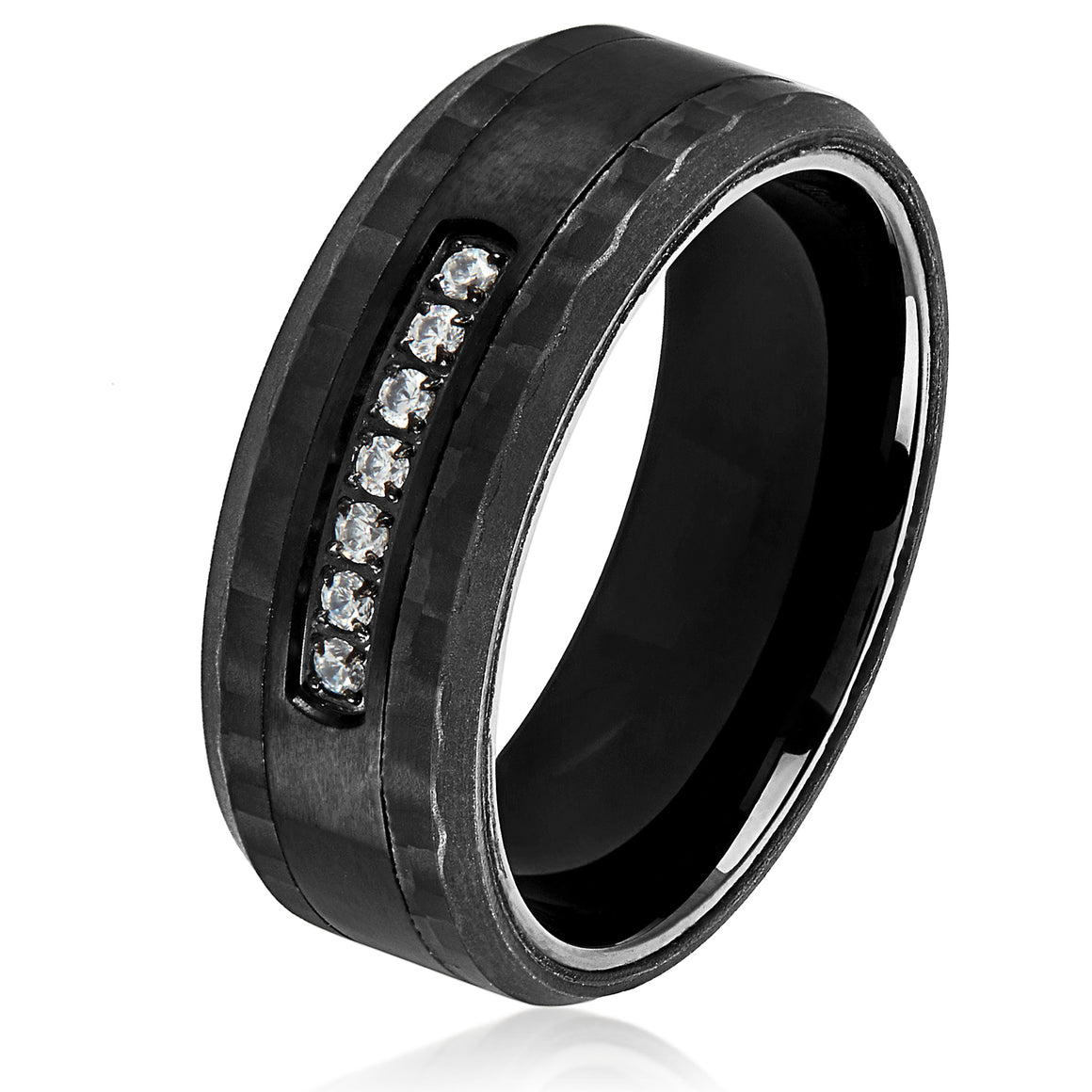 Crucible Men's Stainless Steel Carbon Fiber Semi Eternity Cubic Zirconia Ring