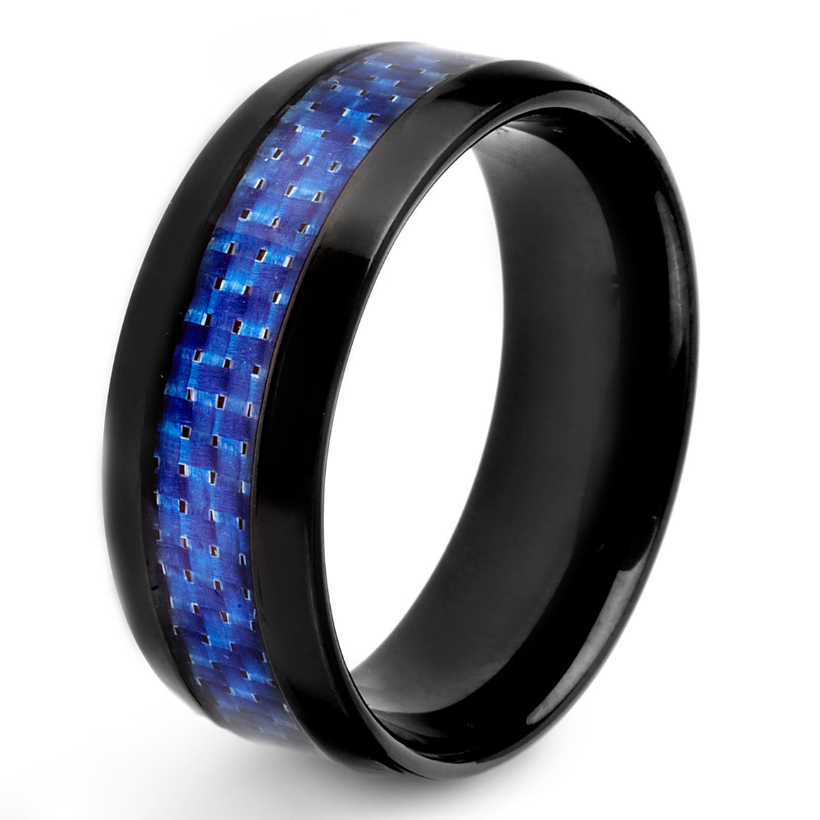 Crucible Men's Stainless Steel High Polished Blue Carbon Fiber Inlay Ring