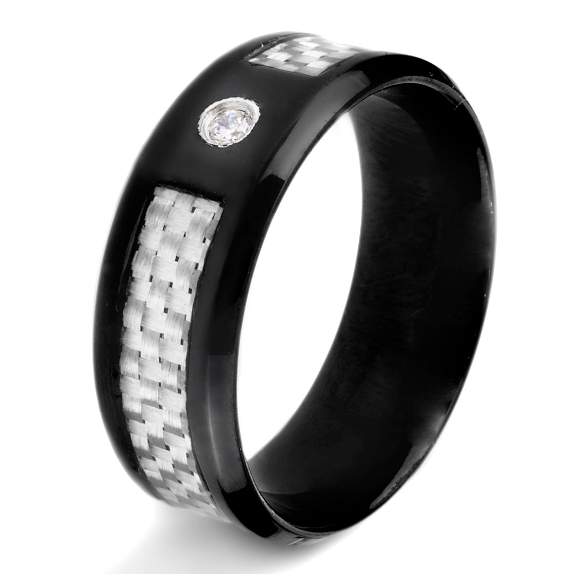 Crucible Black IP Stainless Steel High Polished White Carbon Fiber Cubic Zirconia Ring