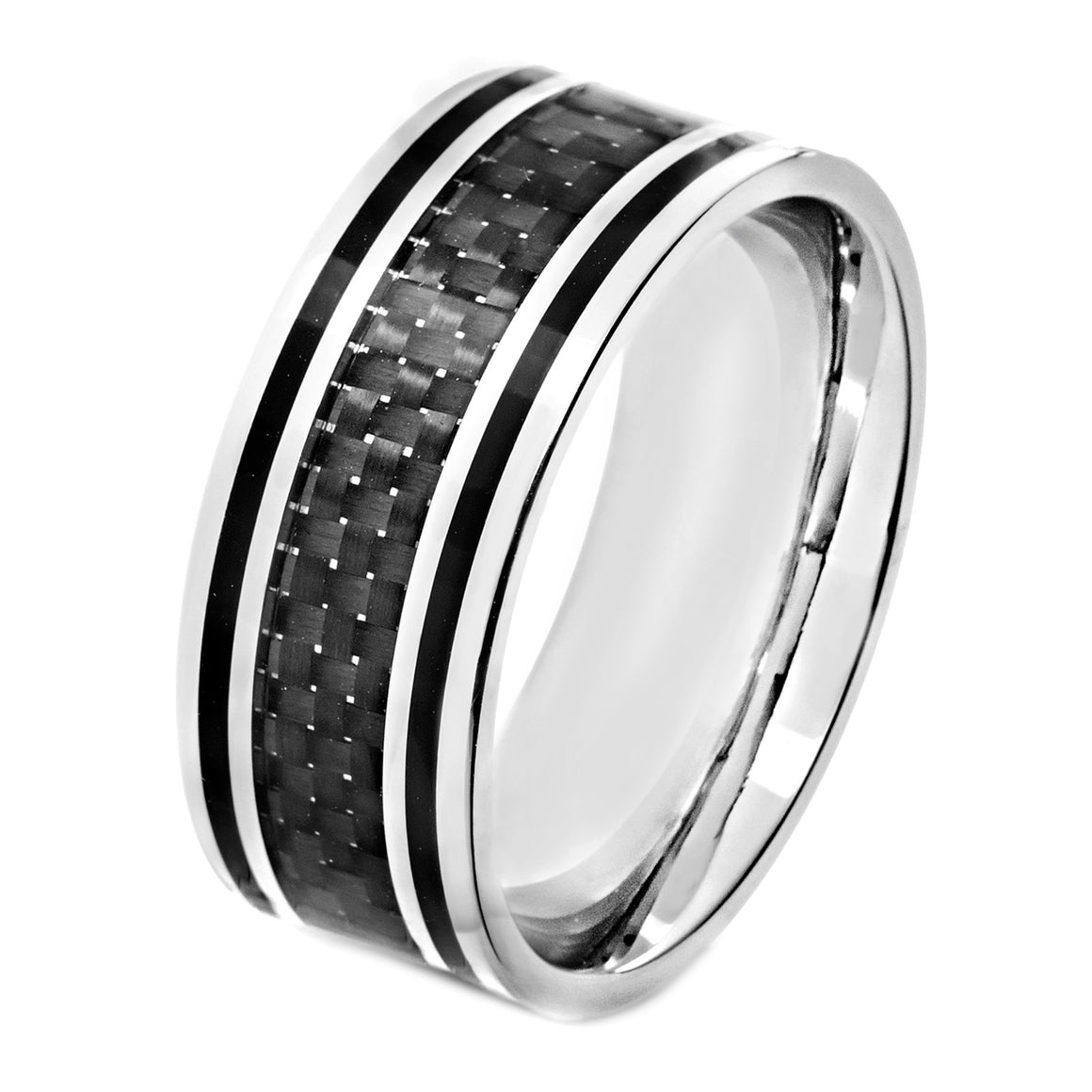 Crucible Stainless Steel Polished Black Carbon Fiber Black Enamel Inlay Ring