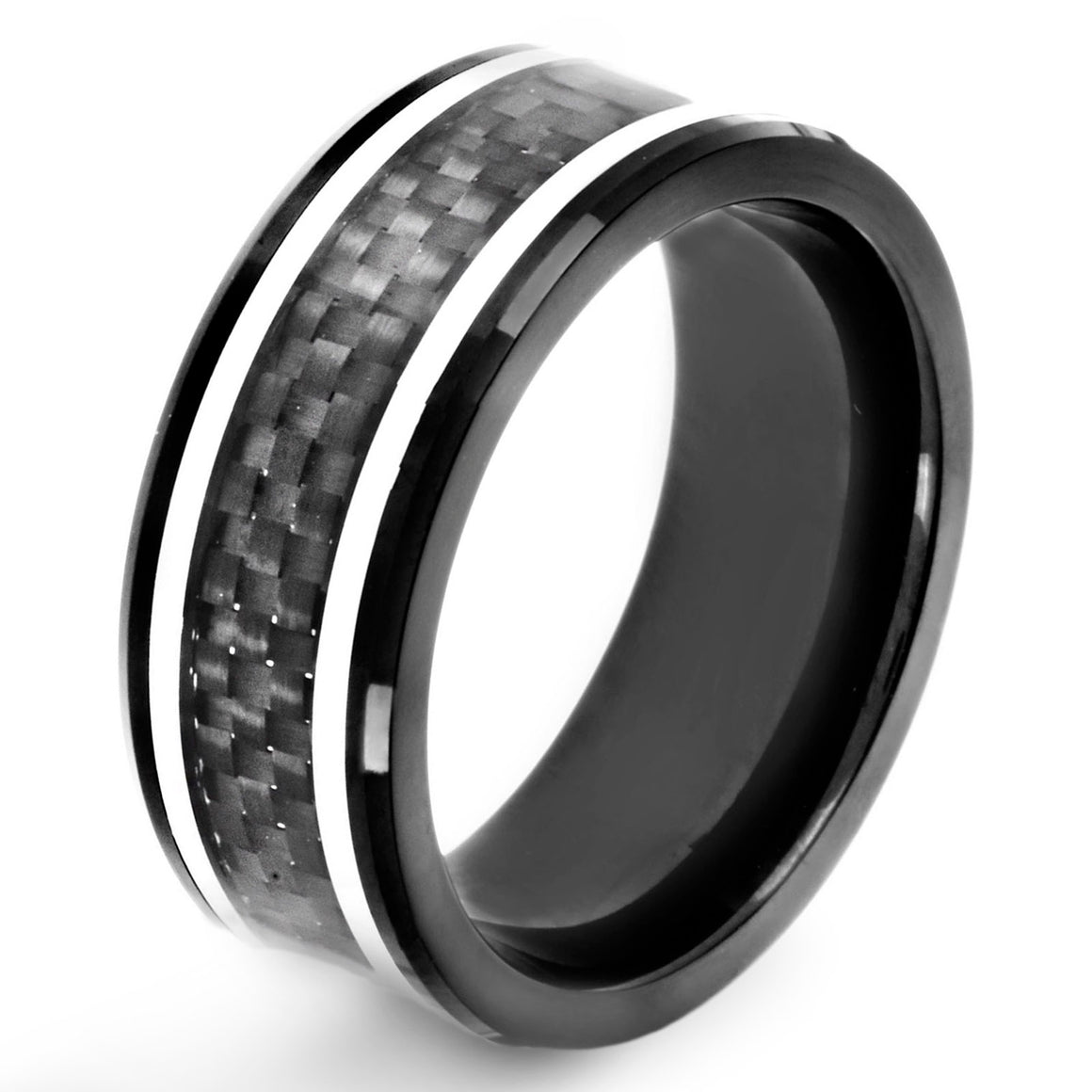 Crucible Black IP Stainless Steel Polished Black Carbon Fiber Inlay Striped Ring