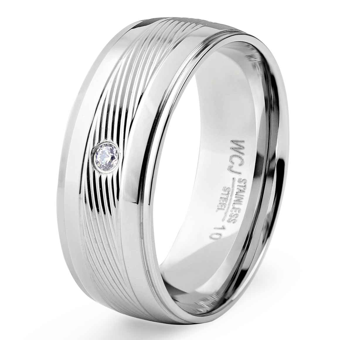 Men's Two-Tone Stainless Steel Polished Cubic Zirconia Grooved Ring