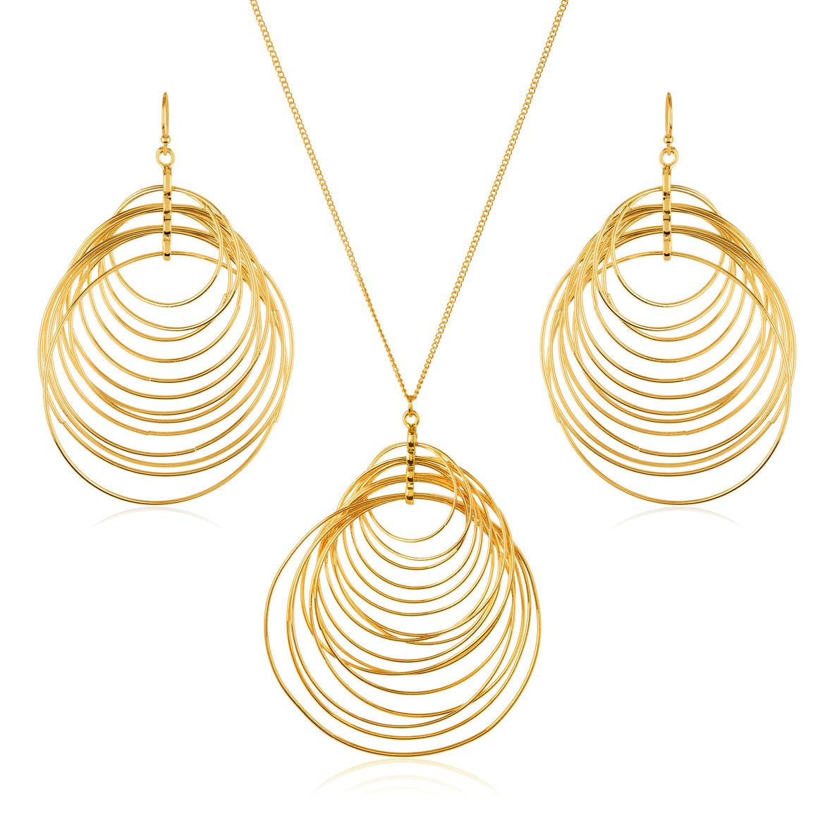ELYA Women's Goldtone Crescent Circles Necklace and Earrings Jewelry Set
