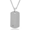 Crucible Men's Tungsten Carbide High Polished Diamond Dog Tag Pendant Necklace