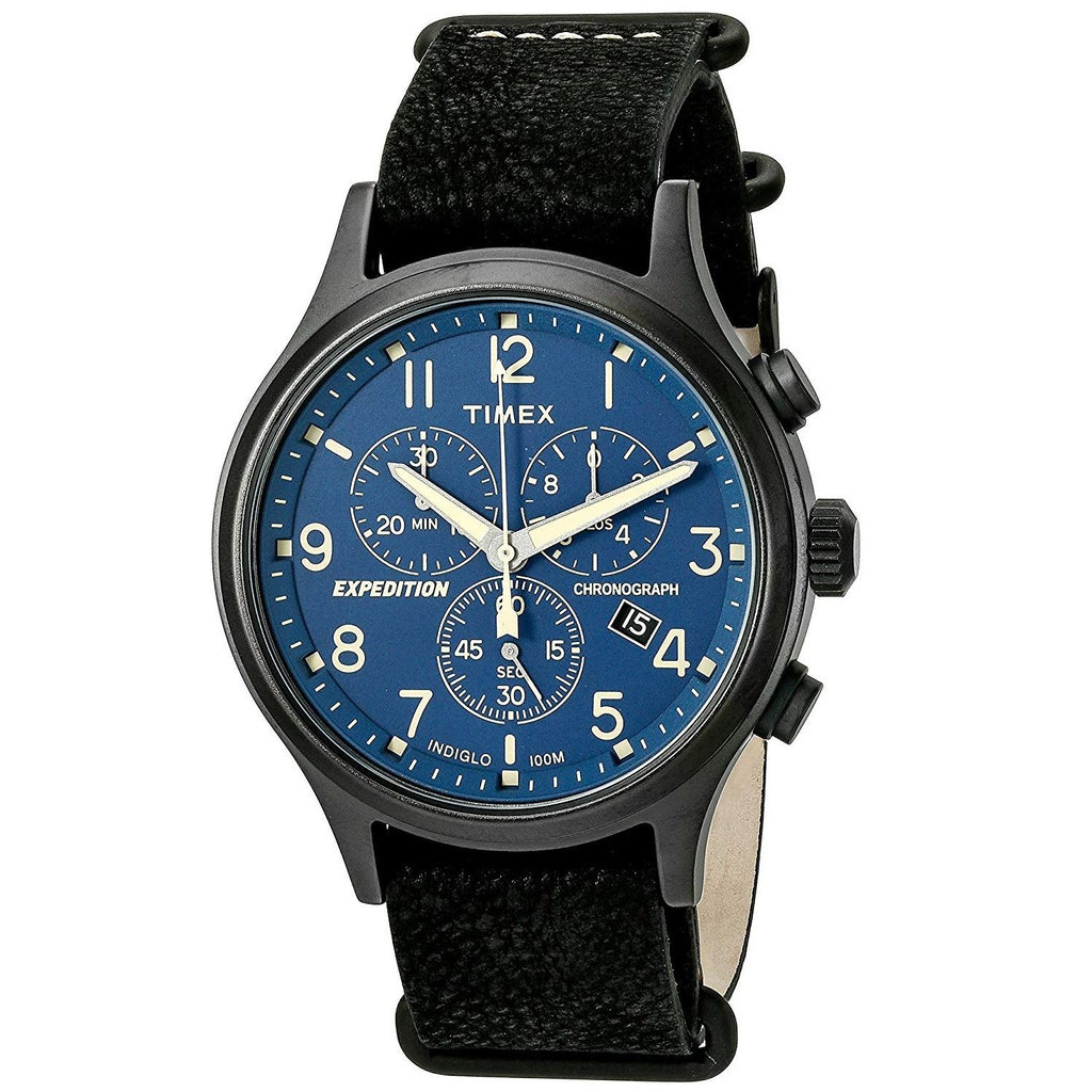 2eb385c1b Timex Men's TW4B04200 Expedition Scout Chrono Black/Blue Leather Slip- |  swoveldirect.com