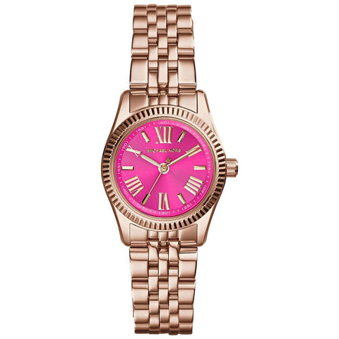Michael Kors Lexington Petite Pink Dial Rose Gold-tone Ladies Watch MK3285