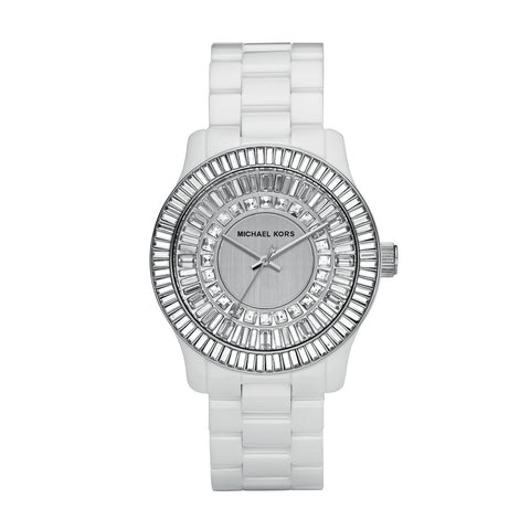 Michael Kors Analog Quartz White Ceramic Crystal Glitz Women's Watch MK5361
