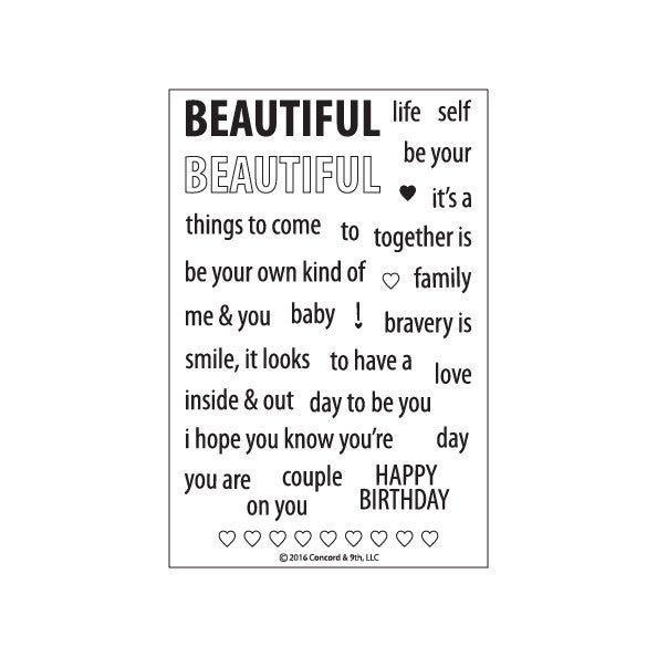 Concord & 9th Beautiful Words Photopolymer Stamp Set