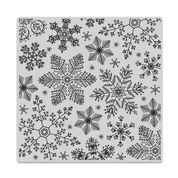 Hero Arts Clings Hand Drawn Snowflakes Bold Prints Background Stamp