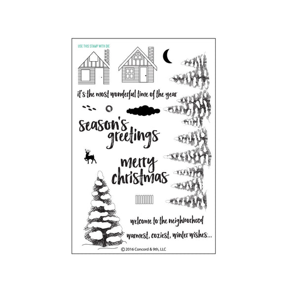 Concord & 9th Christmas Cottage Photopolymer Stamp Set