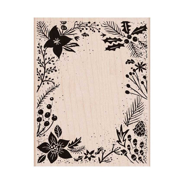 Hero Arts Holiday Floral Wood Mount Background Stamp.