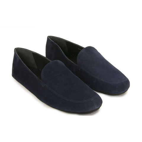 Jacques Levine - #14895 - Mens Suede Slipper in Empire Navy