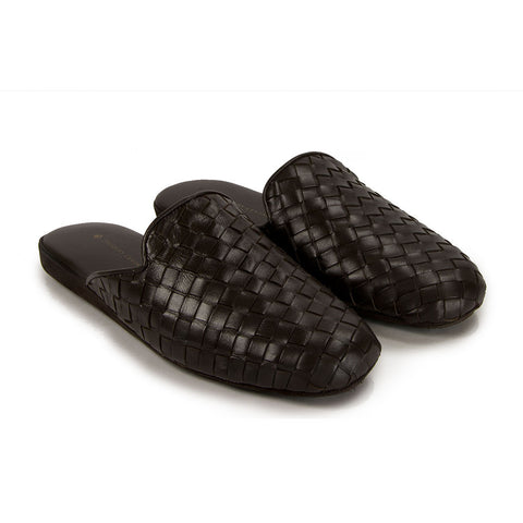 Jacques Levine - #16097 - Mens Woven Leather Slippers in Brown