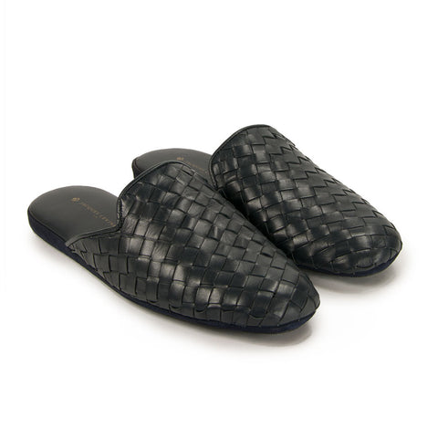 Jacques Levine - #16097 - Mens Woven Leather Slippers in Navy