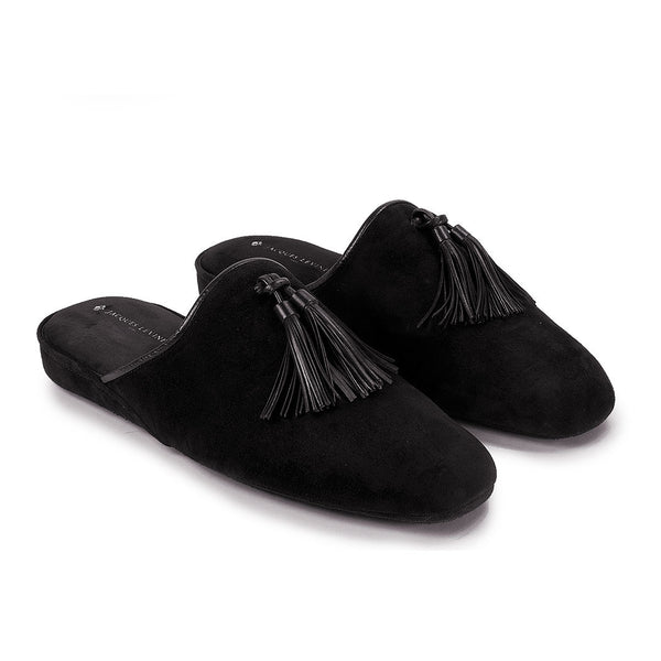 Jacques Levine - #18054 - Mens Tassel Slippers in Black