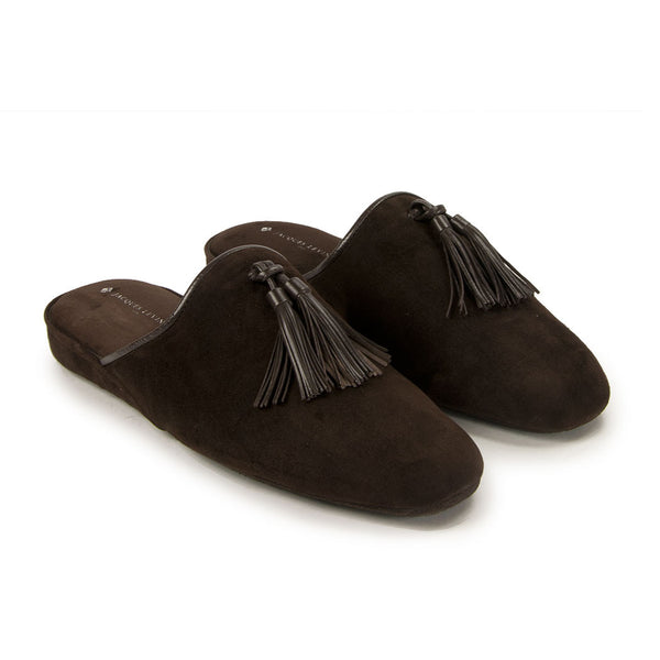 Jacques Levine - #18054 - Mens Tassel Slippers in Brown