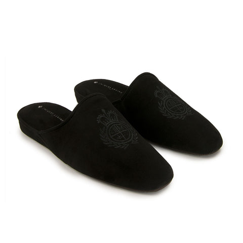 Jacques Levine - #18055 - Mens Crest Slipper in Black
