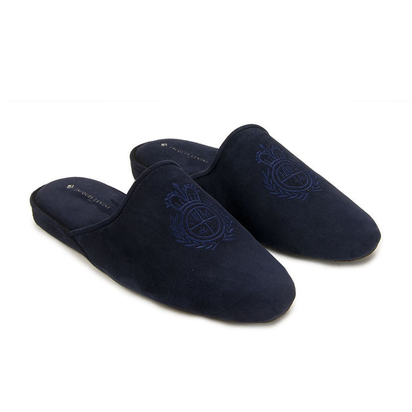 Jacques Levine - #18055 - Mens Crest Slipper in Empire Navy