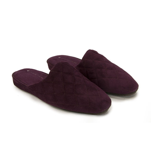 Jacques Levine - #18056 - Mens Quilted Suede Slippers in Bordeaux