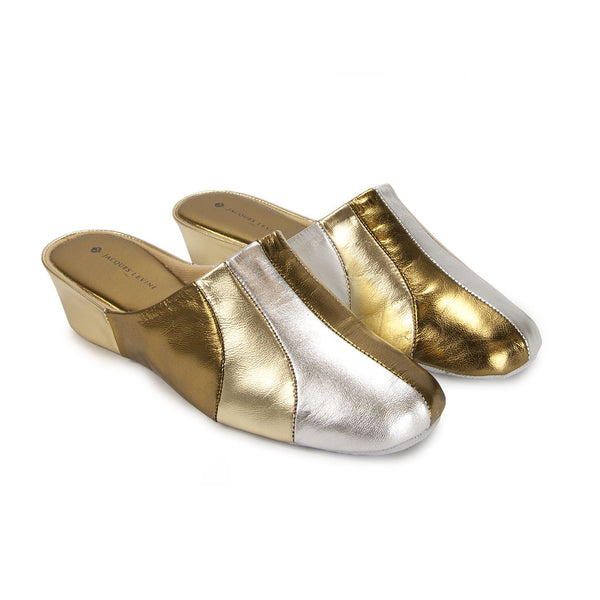 Jacques Levine #1560 Womens Slippers in Bronze