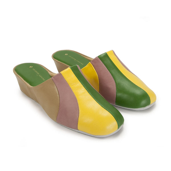 Jacques Levine #1560 Womens Slippers in Yellow Multi