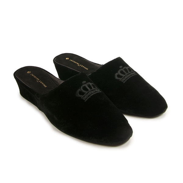 Jacques Levine #17724 Velvet Slippers in Black