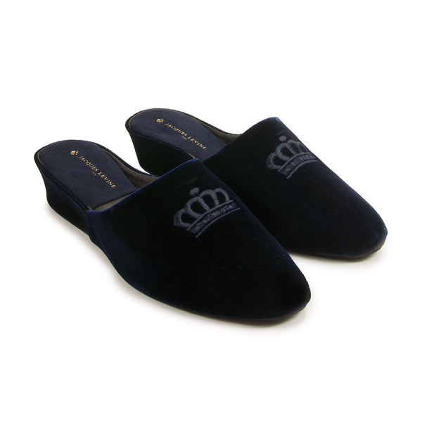 Jacques Levine #17724 Velvet Slippers in Navy